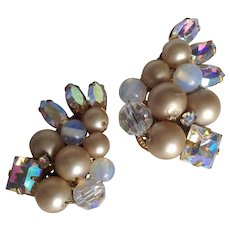 Eugene Beaded Faux Pearl/Rhinestone Clip Earrings