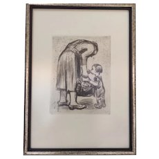 Käthe Kollwitz Mother Feeding Her Child Soup – Framed Restrike Etching