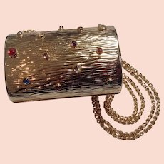 Rodo Italy Convertible Goldtone Evening Bag Purse with Lucite Cabochons