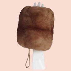 Blonde Mink Muff Hand Warmer - Satin-Lined with Zipper Pocket