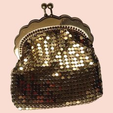 Small Goldtone Mesh Change Purse