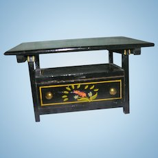 Rare Vintage Black Lacquered Wood Bench/Table