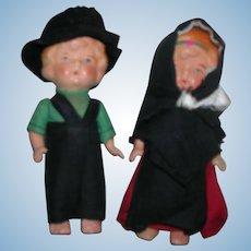 Vintage Painted Bisque Occupied Japan Pair of Dolls