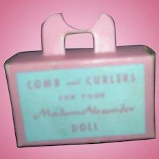 Vintage Original Madame Alexander Pink Suitcase with Comb & Curlers