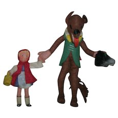 Vintage German BAPS Dolls of Little Red Riding Hood and Big Bad Wolf Set
