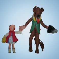 Vintage German BAPS Dolls of Little Red Riding Hood and Big Bad Wolf Set