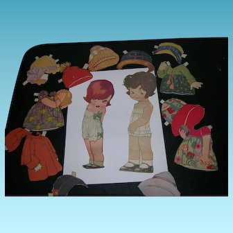 """1926 Vintage Paper Doll """"Peggy Pryde's Sister Patty"""" and Her Friend"""