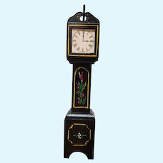 HTF Vintage Black Lacquered Wood Doll Tall Grandfather Clock!