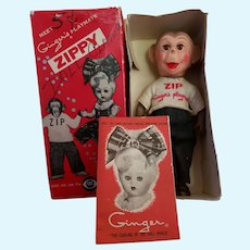 """Vintage 1950's HTF Cosmopolitan Ginger's """"Zippy the Chimp"""" Doll in Original Outfit Boxed"""