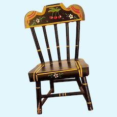 HTF Vintage Black Lacquered Wood Doll Mini Chair