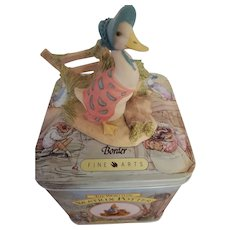"""Beatrix Potter figurine """"Jemima Puddleduck Sets Off"""" with Collector Tin"""