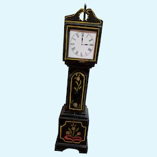 HTF Vintage Black Lacquered Wood Doll Tall Grandfather Clock