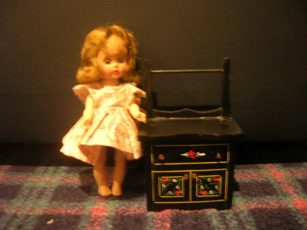 Htf Vintage Black Lacquered Wood Doll Wash Stand Terry