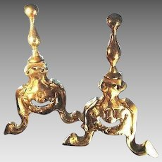 Victorian Brass Andirons/Fire Dogs/Chenets - Pair