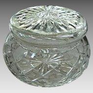 Vintage Large Cut Crystal Powder Bowl/Vanity Box