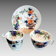 c1820 Georgian Regency Tea Cup Coffee Cup and Saucer Trio - Hand Painted Imari Palette - Extra Saucer Available
