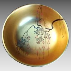Vintage Japanese Lacquer Bowl - Gilded Interior - Floral Design