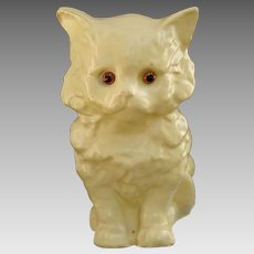 Rare Candy Container German Yellow Cat c1920's Papier Mache