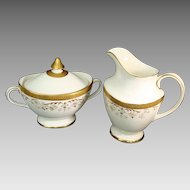 "Footed Milk and Footed Covered Sugar Bowl - Royal Doulton - ""Belmont"""