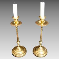 Pair Benares Brass Candle Sticks - Early 20th Century