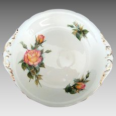 """Vintage Paragon """"Peace"""" Cake Plate - Six World Famous Roses Series - Harry Wheatcroft"""