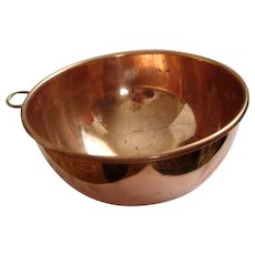 Vintage Copper Mixing Bowl - Brass Ring Handle for Hanging