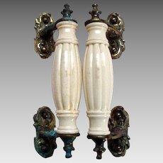 Antique Victorian Pair of Door Pulls / Handles - Metal and Ceramic
