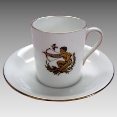 "Vintage ""Sagittarius"" Demi Tasse / Coffee Can and Saucer - Royal Tuscan - ""Horoscope"" Series"