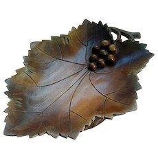 Black Forest Musical Hand Carved Bowl - Wine Leaf Shape - c1910 - 1920