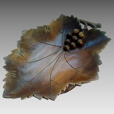Black Forest Musical Hand Carved Bowl - Wine Leaf Shape - c1910 - 1920