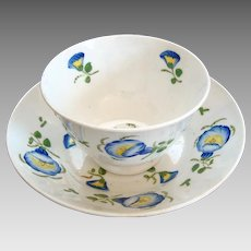 Early 1800's English Footed Tea Bowl and Saucer - Hand Painted - Georgian