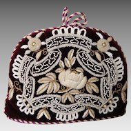 Magnificent Victorian Beaded and Pearl Velvet Tea Cosy