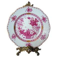 "Herend Porcelain ""Indian Basket"" Plate - Raspberry Palette"