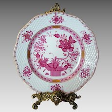"Herend Porcelain ""Indian Basket"" Plate - Raspberry Palette"