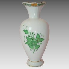 "Herend Porcelain Green ""Chinese Bouquet"" Apponyi Vase"