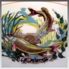 """Royal Worcester Oversized Cup and Saucer - Salmon Fishing - """"To A Very Important Person"""""""