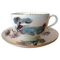 Royal Worcester Oversized Cup and Saucer - Pheasant Shooting Theme - TO A VERY IMPORTANT PERSON