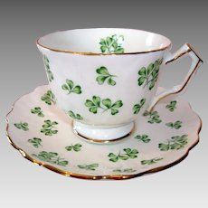 """Aynsley Finest Bone China Cup and Saucer - """"Shamrock"""""""