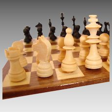 Boxed Traveling Wooden Chess Set and Board - Miniature - Vintage