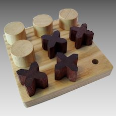 "Vintage Wooden ""Tic Tac Toe"" - Noughts and Crosses - with Wooden Board"