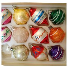 11 Vintage Glass Christmas Tree Ornaments - In Original Box