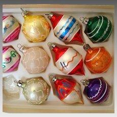11 Vintage Glass Christmas Tree Ornaments - In Original Box