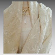 Early 20th Century - Hand Embroidered - Chinese Silk Shawl - Piano Shawl
