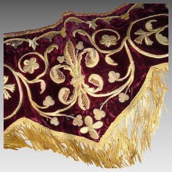 Stunning 19th Century Pelmet - Metallic Thread - Gold Bullion Trim - Burgundy Velvet