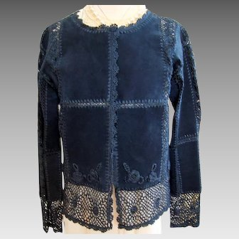Vintage  - Navy Blue - Suede and Rayon Crochet - Cardigan - Jacket - S / P