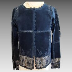 Vintage  - Suede and Rayon Crochet - Cardigan - Jacket - S / P