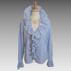 Vintage - Ralph Lauren Blouse - Silk - White with Navy Stripe - M