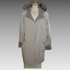 Vintage - Liz Claiborne -  Rain Jacket - Removable Hood - Stone and Mushroom Coloured - XL
