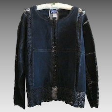 Vintage -  Black Suede and Crochet Work -  Lady's Jacket / Cardigan - 1X