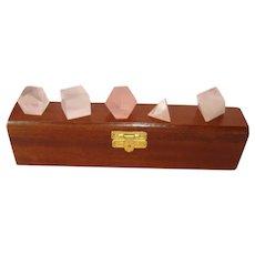 Boxed Set of the 5 Platonic Solids - Rose Quartz - Vintage